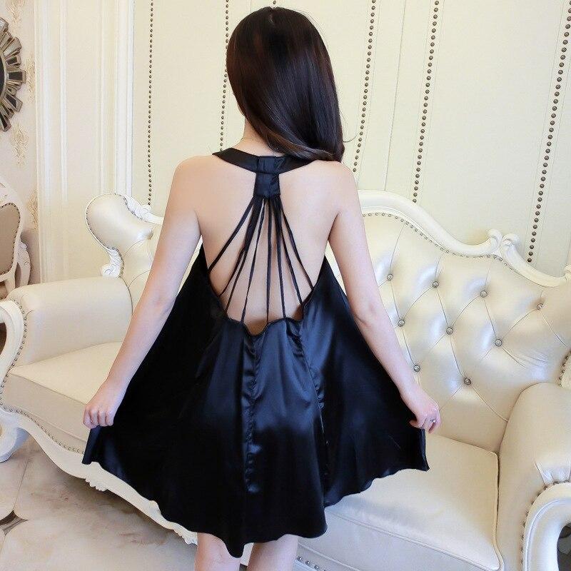 2019summer new womens nightgown sleepwear strap suspender sexy ladies silk  nightdress back hollow home clothing