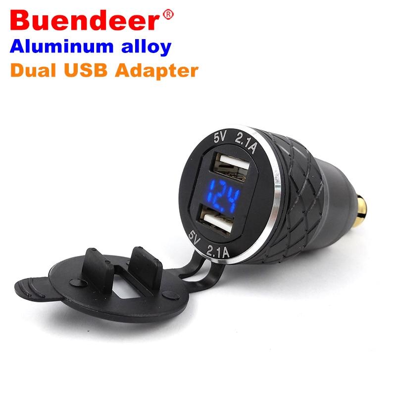 US $10 61 32% OFF|Buendeer 4 2A Dual USB Port Outlet For BMW R1200GS Hella  DIN Moto Cigarette Lighter Socket Motorcycle Volt LED Display Adapter-in