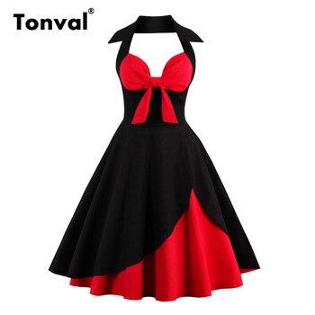 Tonval-vestido Midi sexi para mujer, vestido Midi elegante en capas con nudo, cuello en V, rojo y negro, Pin Up y Flare para fiesta