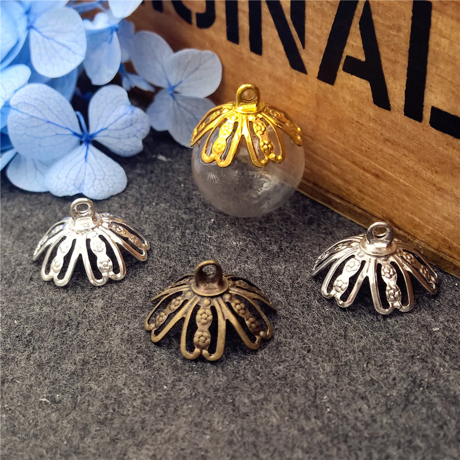 5sets 14x4mm ball glass globe with flower cap set glass vial pendant DIY jewelry accessories glass necklace pendant