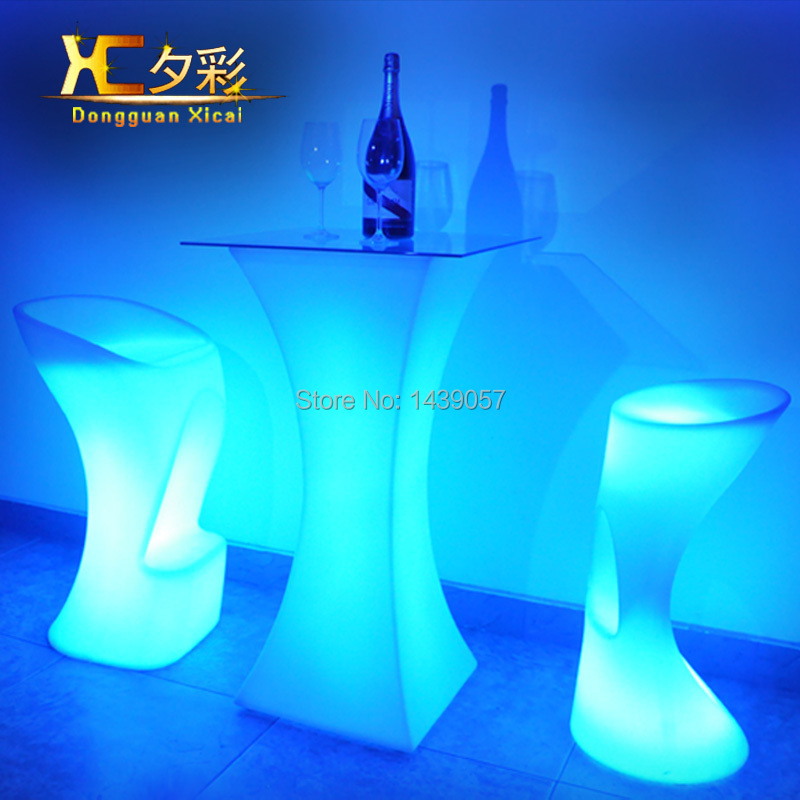 LED Bar Table Plastic Luminous Furniture High Cocktail Drinking Table For Living Room Dining Room Garden Club Party Desk led luminous bar table plastic color changing coffee dining room garden drinking tables