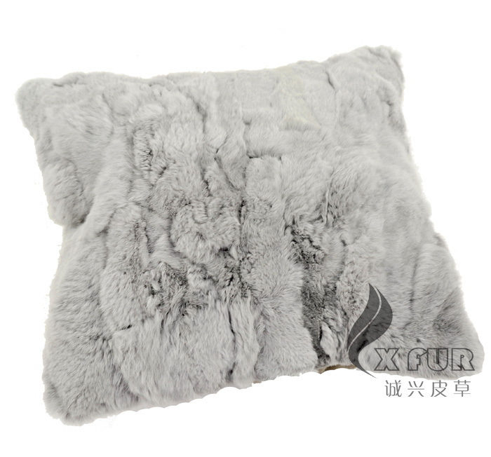 grey fur pillow