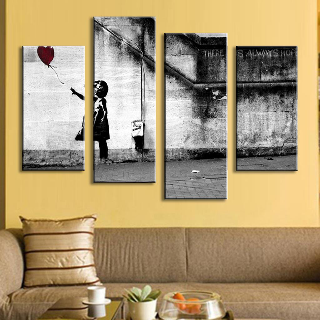 4 Pcs/Set Banksy Art There Is Always Hope Dark Version modern ...