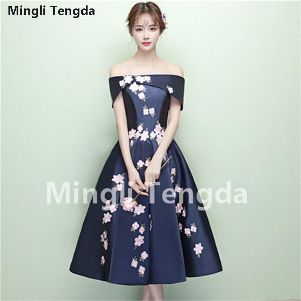 Mingli Tengda Gray A-Line Elegant Bridesmaid Dresses Appliques Party Dresses for Wedding 2018 Off the Shoulder Bridesmaid Dress