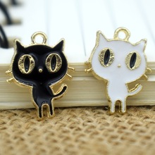 10pcs 15x19mm Lovely Black Cat Enamel Charms Alloy Animals Pendants Bracelets DIY Accessories Necklace Keychain Jewelry YZ038