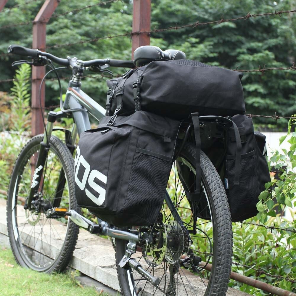 ROSWHEEL 14892 carretera de montaña bicicleta 3 en 1 baúl bolsas ciclismo doble lado Rack trasero cola alforjas asiento paquete luggage Carrier - 6
