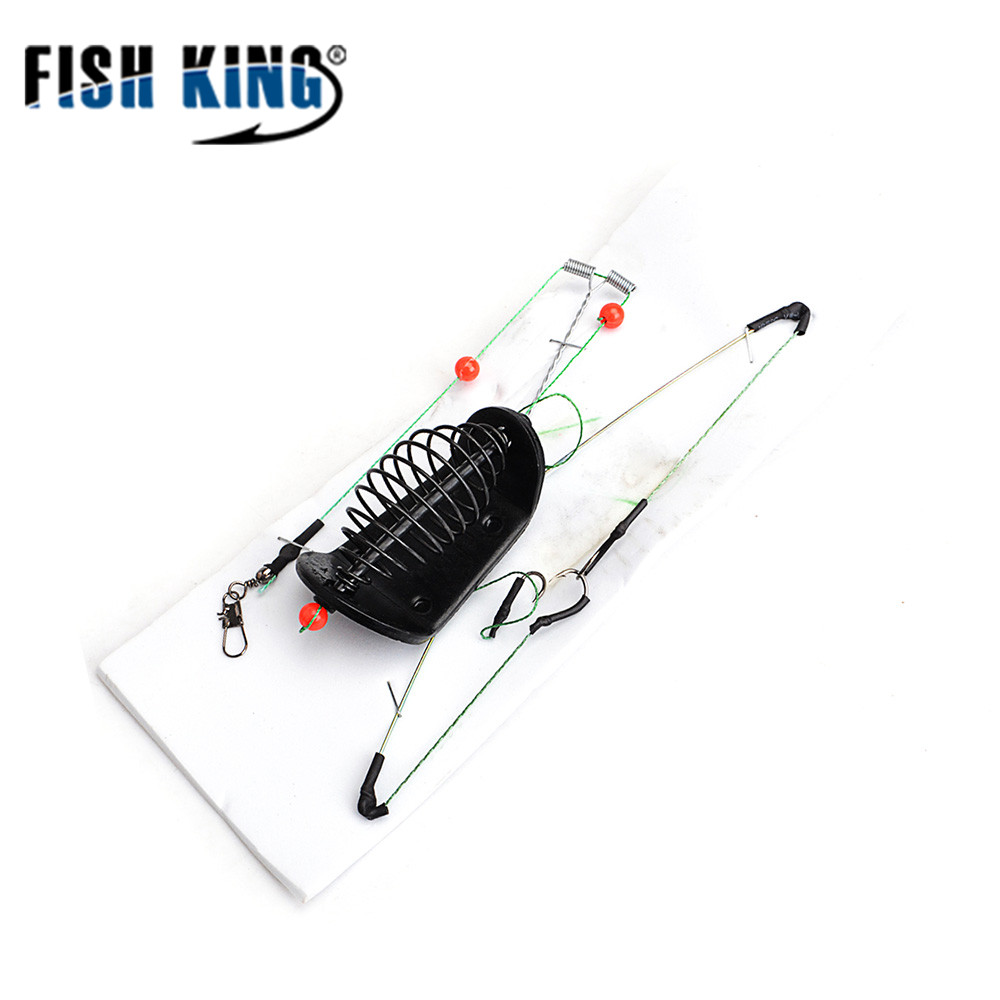 FISH KING 1PC 20G-100G Length 39CM Three hooks  Fishing Bait Cage lead sinker Swivel With Line Hooks For Carp Feeder
