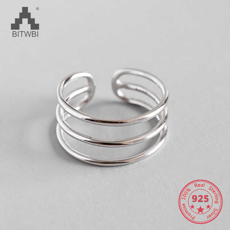 100% S925 Sterling Silver Fashion Personality Simple Three-line Smooth Ladies Open Ring