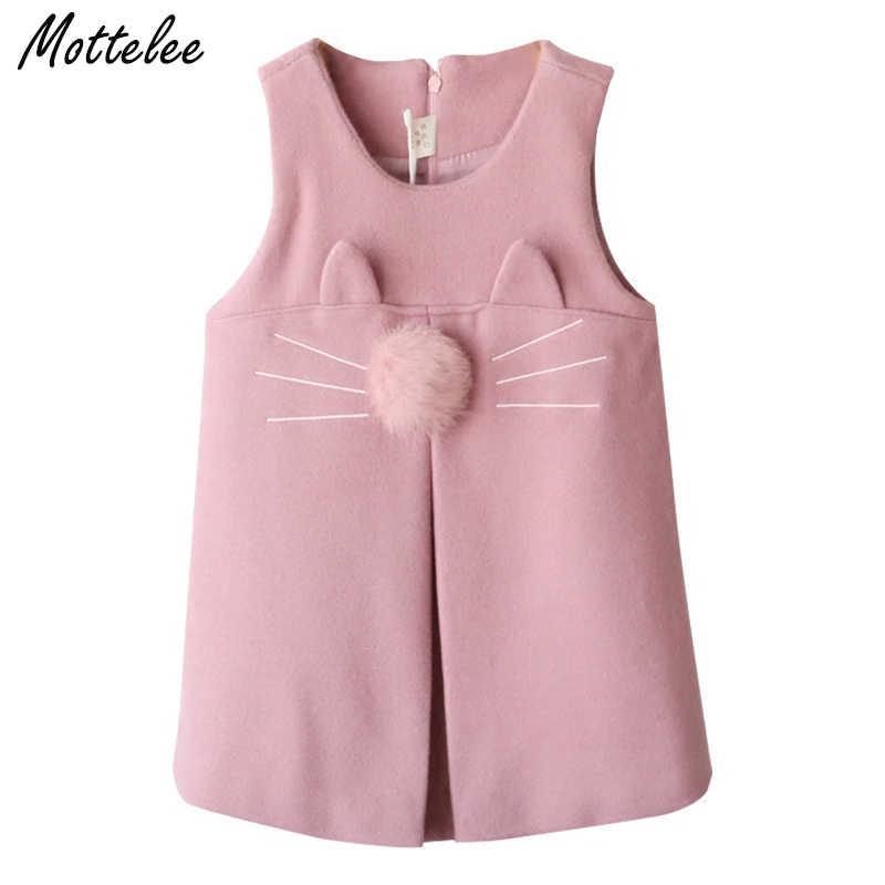 Mottelee bebek kız elbise marka kız elbise kolsuz karikatür tavşan kulaklar kürk topu aksesuarları fantezi elbise çocuk giyim