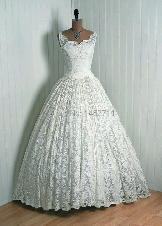 Online Shop 2015 Custom Made Vintage 50S Lace Bride Wedding Dresses Sleeveless Ball Floor Length Bridal Gowns