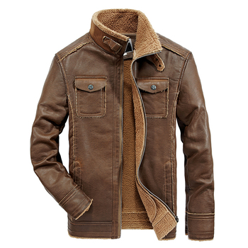 Winter Men Leather Jackets New Multi Pocket Casual Men Thick Vintage Motorcycle PU Faux Jacket Male Jaqueta De Couro Masculino