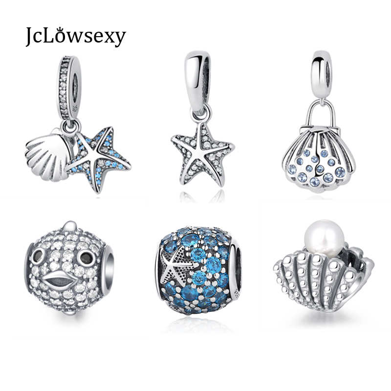 794ac02bb 2017 Summer Authentic 925 Sterling Silver Open Crystal Starfish Sea Shell  Pearl Mussel Charm Beads Fit