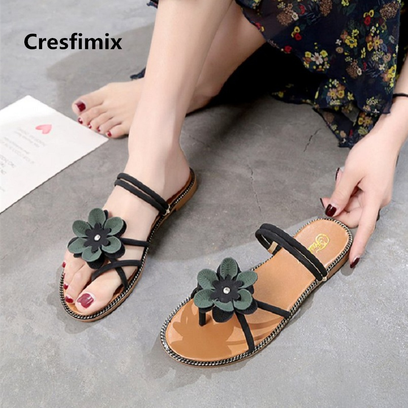 Cresfimix sandalias de mujer women comfortable summer sandals lady cute flower deco sandals lady spring anti skid sandals a872 cresfimix sandalias de mujer women fashion black beach flat sandals lady cute solid comfortable plus size sandals with crystal