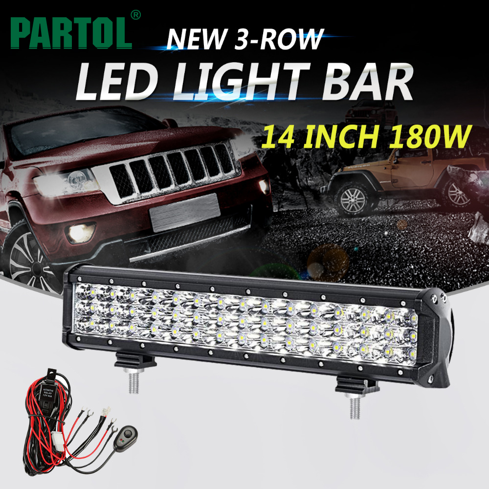 Partol 14inch 180W 3-Row 6D LED Light Bar Offroad Led Bar Combo Beam Driving Work Light Camper Truck SUV ATV 4x4 4WD 12v 24v eyourlife 23 25 inch 120w fog lamp spot wide flood beam combo work driving led light bar for offroad suv atv 12v 24v 99