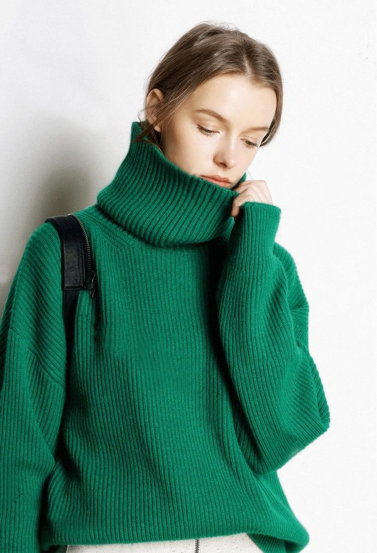 Pull Casual Tricoté Roulé Col orange Winte Femmes Tricots vert 2018 blanc Cachemire Laine Mode En Noir bleu BxwYIqttU