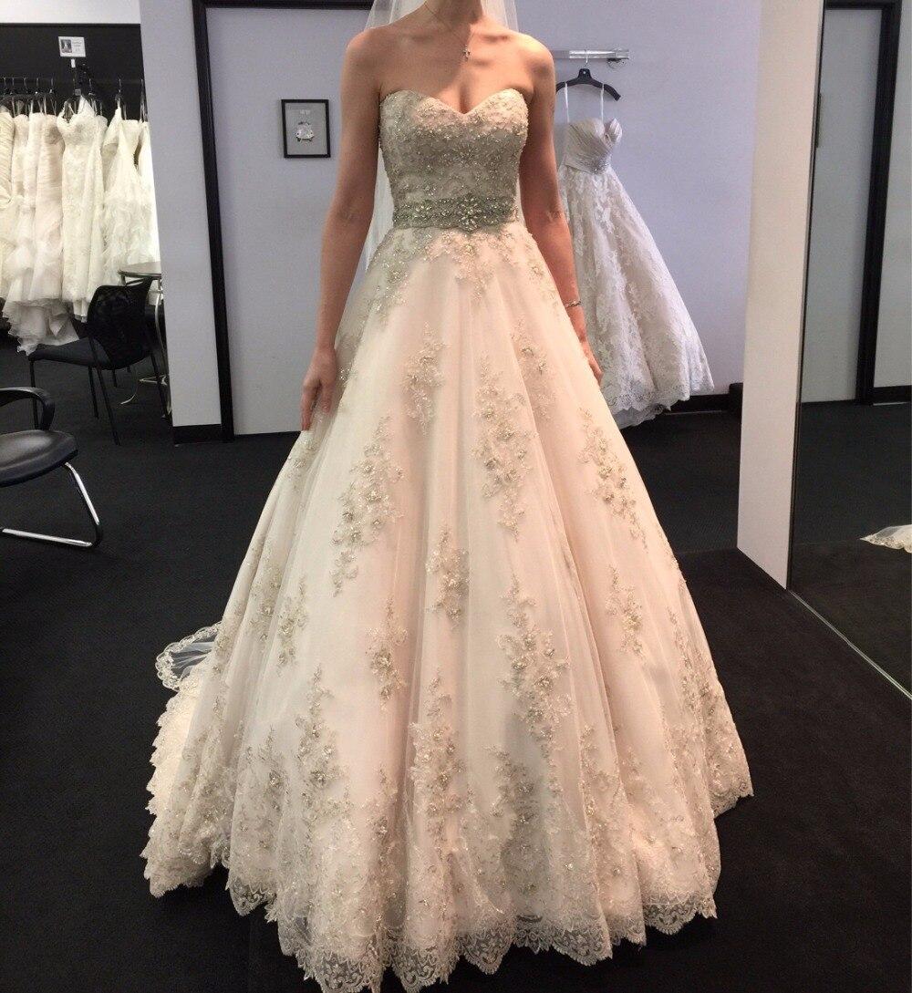 Элегантный Винтаж кружево Свадебные платья Милая декольте корсет сзади аппликация бисером невесты платье 2019 без рукавов