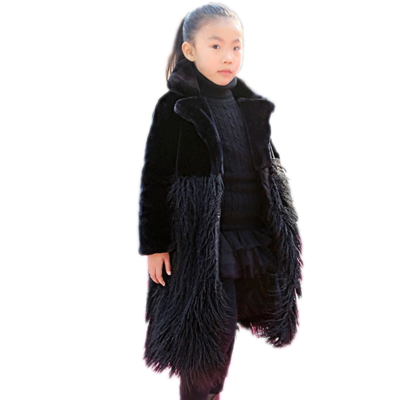 2018 Turn Down Collar Tall Girl Faux Fur Coat Warm Long Slim Outerwear Fake Fur Patchwork Children Overcoat Big Girls Fur Jacket a15 girls down jacket 2017 new cold winter thick fur hooded long parkas big girl down jakcet coat teens outerwear overcoat 12 14