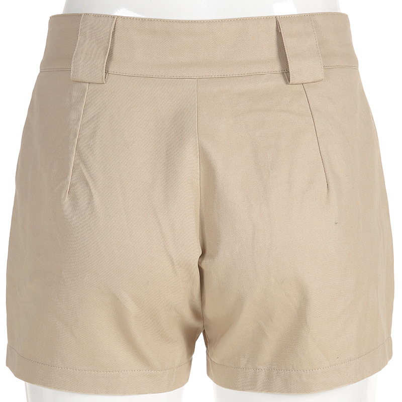 HTB1hNWnbvjsK1Rjy1Xaq6zispXaf - Spring Summer High Waist Shorts With Buckle Ribbon Khaki Korean Street Style Cotton Short Feminino Cargo Shorts