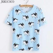 JKKUCOCO Tops Hot Tees Women t shirt little Dog Print T-shirt Women Short Sleeve O-Neck Summer T-shirts Casual T shirt 22 Models