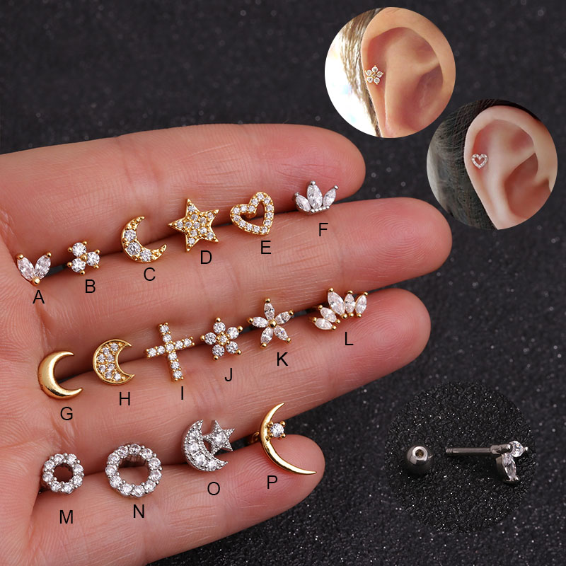 Sellsets Silver And Gold Color CZ Stud Piercing Moon Star Cartilage Earring Conch Tragus Stud Helix Cartilage Piercing Jewelry