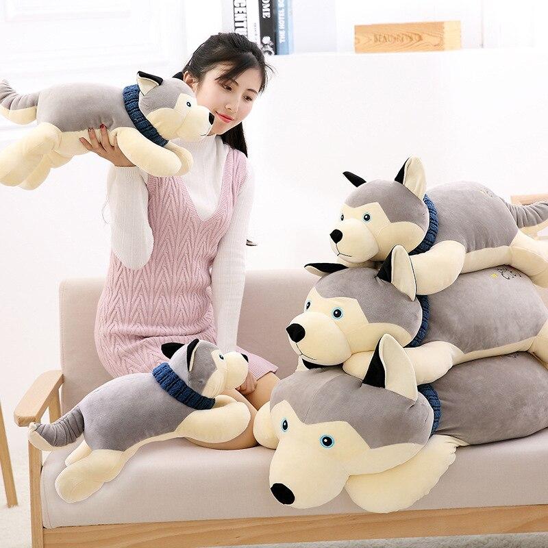 70 cm nouveaux produits super doux Husky chien en peluche. Oreiller de sommeil simulation chien fille cadeau d'anniversaire