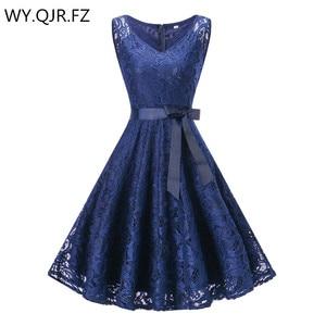 Image 1 - OML510Z#V neck Navy blue Bow Short Bridesmaid Dresses wedding party dress 2019 prom gown womens fashion wholesale clothing