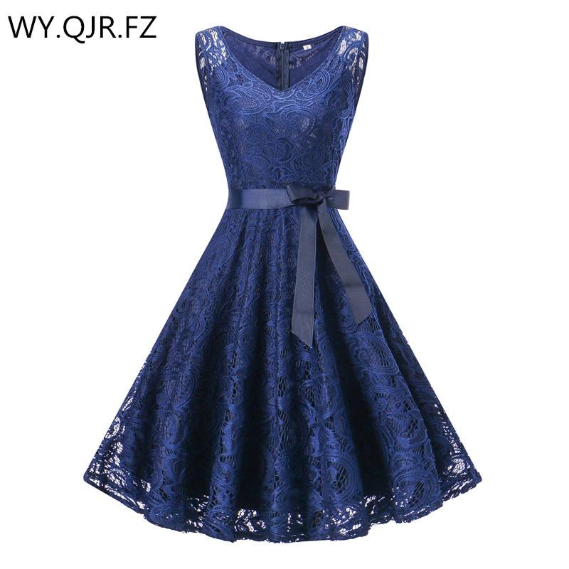 OML510Z#V-neck Navy blue Bow Short   Bridesmaid     Dresses   wedding party   dress   2018 prom gown women's fashion wholesale clothing