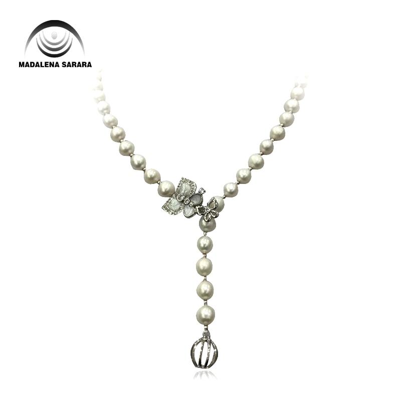 MADALENA SARARA élégant AA 7-8mm Baroque perle d'eau douce naturel blanc collier papillon facile Style 20