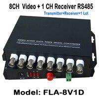 8Ch 1pair Video Data Fiber Media Converter Digital Fiber Optical Video Transmitter Receiver System With 1ch