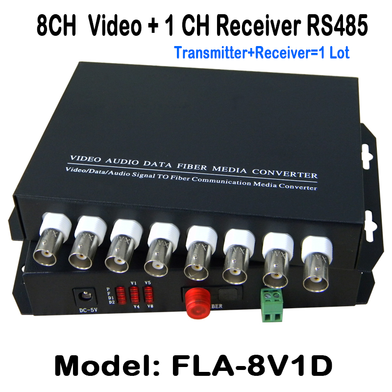 8Ch 1pair  Video Data Fiber Media Converter Digital fiber Optical video Transmitter/Receiver System with 1ch reverse RS485 data new 1ch hdsdi multifunction optical media converter 1080p transceiver video ethernet rj45 rs485 data audio over single fiber