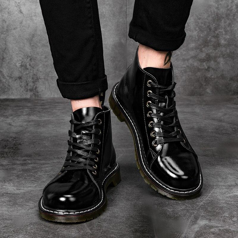 cf655d7ef238 Теплые зимние ботинки мужские Высокая Повседневная обувь ботильоны на  платформе черный Открытый ботинки Martin сапоги для мужчин зимняя обувь    Базовые ...