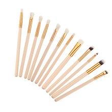 12Pcs Eyes Lips Makeup Brush Set Pro Eyeshadow Eyeliner Eyebrow Blush Angled Crease Blending Cosmetic Brushes Kits Makeup Tools