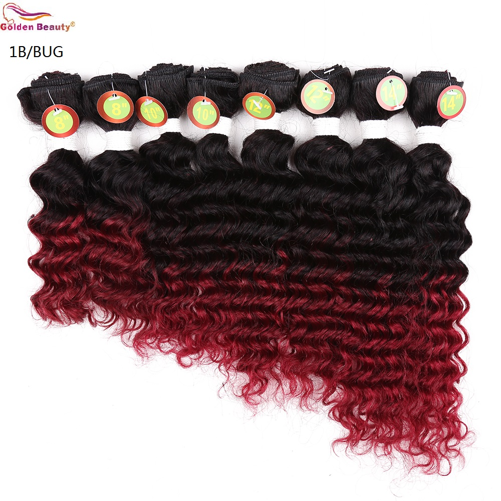 8-14inch Deep Wave Bundles Weave Hår Syntetisk Kort Sy i - Syntetiskt hår - Foto 3