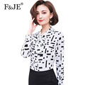 F&JE New 2017 Spring Fashion Korean Style Women Bow Design High Quality Elegant Slim Blouse All-matched Chiffon Shirt J550