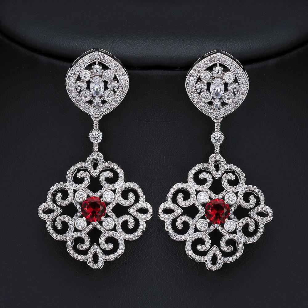 Boucles d'oreilles en argent Sterling 925 en cristal de Zircon imprégné AAA pour femmes M02-E0056