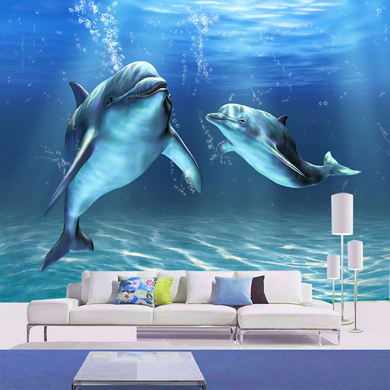 Custom Photo Wall Paper 3D Stereoscopic Marine Dolphin Large Mural Bedroom Living Room TV Background Decor Non-woven Wallpaper