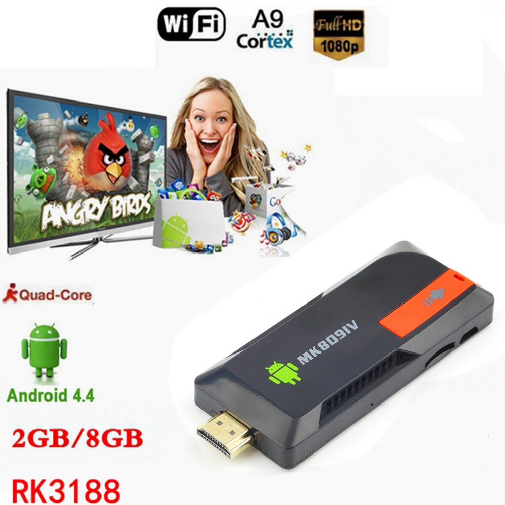 New MK809IV Smart TV 2GB 8GB Android TV Box Wireless Dongle Android Mini PC Quad Core RK3188T WIFI Bluetooth TV Game Stick in stock w5 tv dongle quad core intel z3735f windows10 android 4 4 dual os mini pc tv box 2gb 32gb bluetooth hdmi tv stick