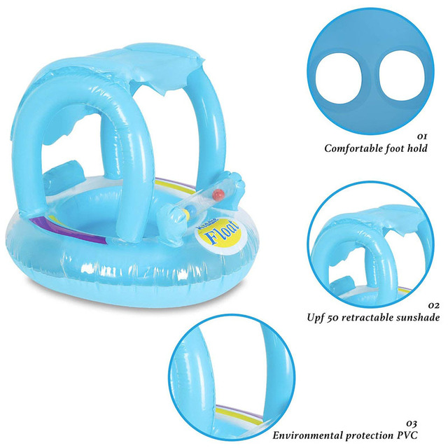 Summer Baby Flamingo Pool Float Safety Swimming Rings Inflatable Swim Float With Sunshade Seat Raft Water Fun Pool Toys 3