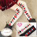 Princess sweet lolita stockings BOBON21 Young girl cotton Alice cos over the knee poker pattern knee-high stockings GXW15