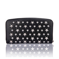 New five pointed star rivet wallet leather long zipper multi card wallet neutral horizontal square large capacity clutch