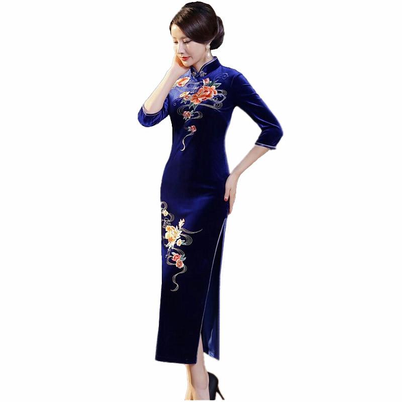 Fashion Women's Long Cheongsam New Arrival Chinese Style Velour Dress Elegant Qipao Vestidos Size S M L XL XXL XXXL 4XL T0058 женское платье brand new 2015 vestidos 5xl s m l xl xxl xxxl 4xl 5xl