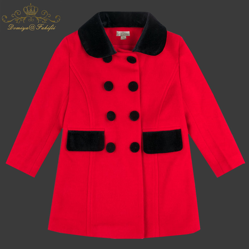 Girls Coats and Jackets Kids 2018 Winter Autumn Brand Children For Girls Clothes Warm Red Woolen Coats Outerwear For 2-10Y girls jackets and coats 2018 new brand outdoor baby windbreaker coats kids warm capes children winter outerwear girls clothing
