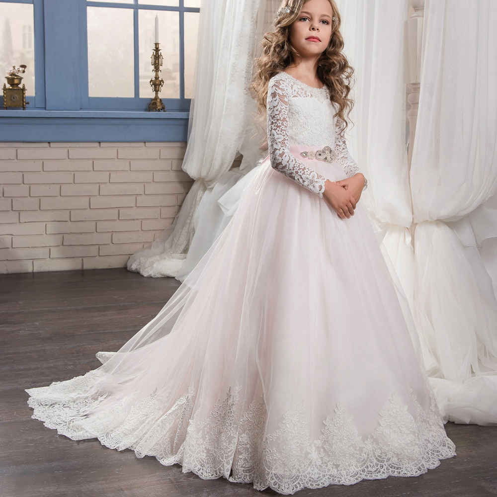 2018 Pageant Dresses for Girls Glitz Lace Ball Gown O-neck Long Sleeves Flower Girl First Communion Gowns Flower Girl Dresses canon pgi 5bk black картридж для струйных мфу принтеров