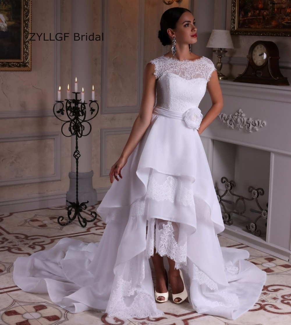 White Wedding Gown Styles: Bridal High Low Hem Wedding Gowns White Bohemian Style