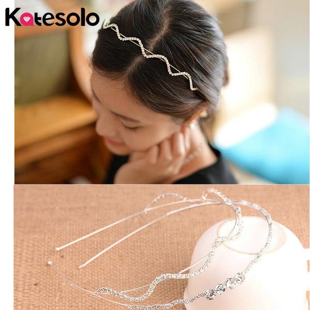 Katesolo Romantic Bridal Headbands Crown Fashion Women Girls Rhinestone  Crystal Hairbands Silver Wedding Tiara Hair Accessories c03423631496