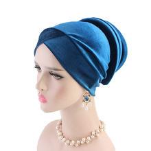 Шарф для женщин мусульманок шляпа однотонный бархатный хиджабы