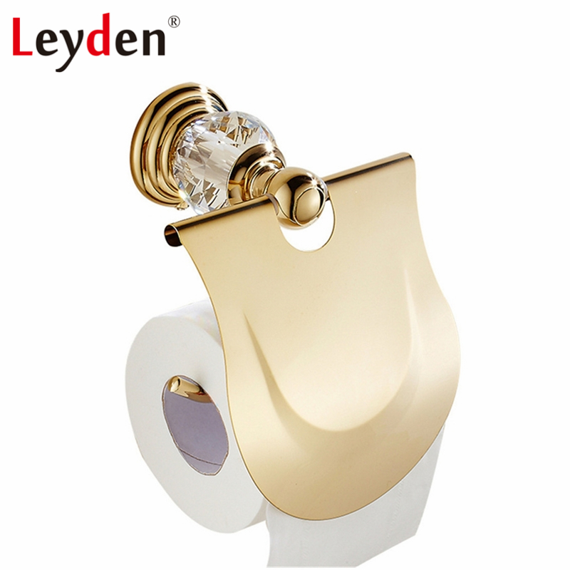 Leyden Luxury Toilet Paper Holder Crystal Toilet Roll Holder Gold Wall Mount European Toilet Tissue Holder Bathroom Accessories everso wall mounted toilet paper holder with shelf stainless steel toilet roll paper holder tissue holder bathroom accessories