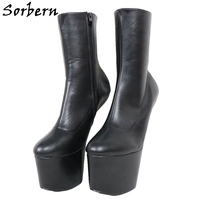 Sorbern Hoof Heels Ankle Boots For Womens Black Matte Unisex Night Club Boots Lady Gaga Boots Ladies Boots