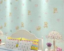 beibehang papel de parede Childrens bedroom non-woven fine embossed cartoon wallpaper hudas beauty bebang