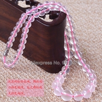 Beautiful Romanic 5 12mm Natural Pink Ice Clear Crystal Beads Link Necklace Fashion Woman Man S